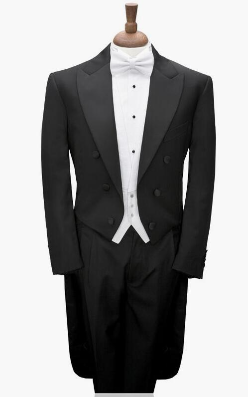 Hot Sale Custom Made To Measure BLACK TAILCOAT WITH WHITE VEST,,BESPOKE long tail BLACK tuxedo tailcoat,TAILORED MEN SUITS button up tailcoat