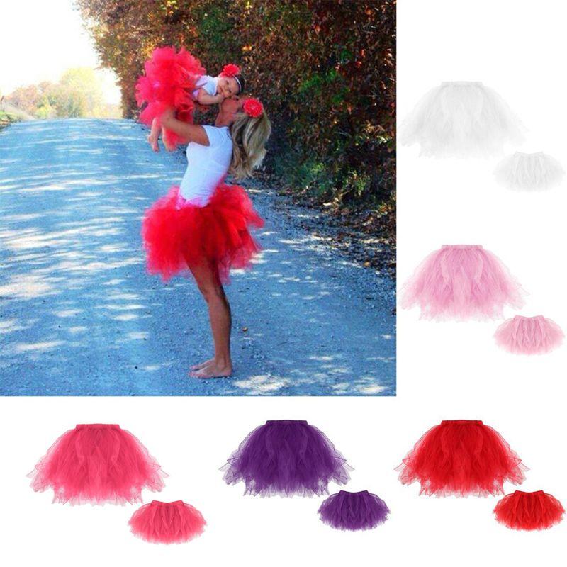 Mother Daughter Short Ballet Dance Tutu Skirt Matching Princess Fairy Costume Layered Fluffy Pleated Fancy Party Tulle Dress