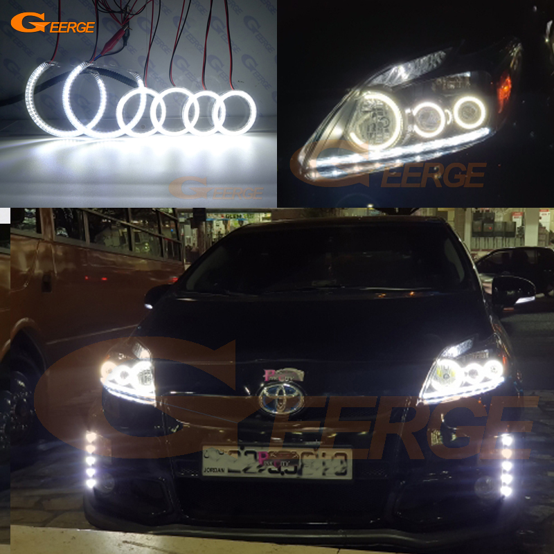 For Toyota Prius 2012 2013 2014 2015 LED XENON HEADLIGHT Excellent 6 pcs Super bright 3528 SMD led Angel Eyes kit DRL 2012 2013 year kluger highlander led f type angel eyes head lamp for toyota dzg
