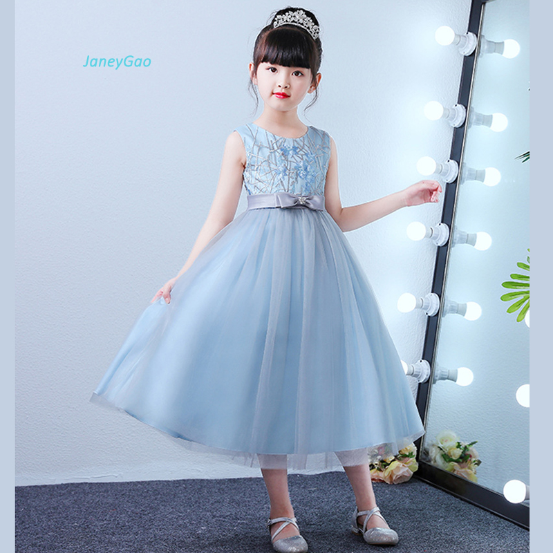 JaneyGao Flower Girl Dresses For Wedding Party Blue Teenage Girl Formal Dresses Birthday Party Pageant Dress Girl Gown 2019 New