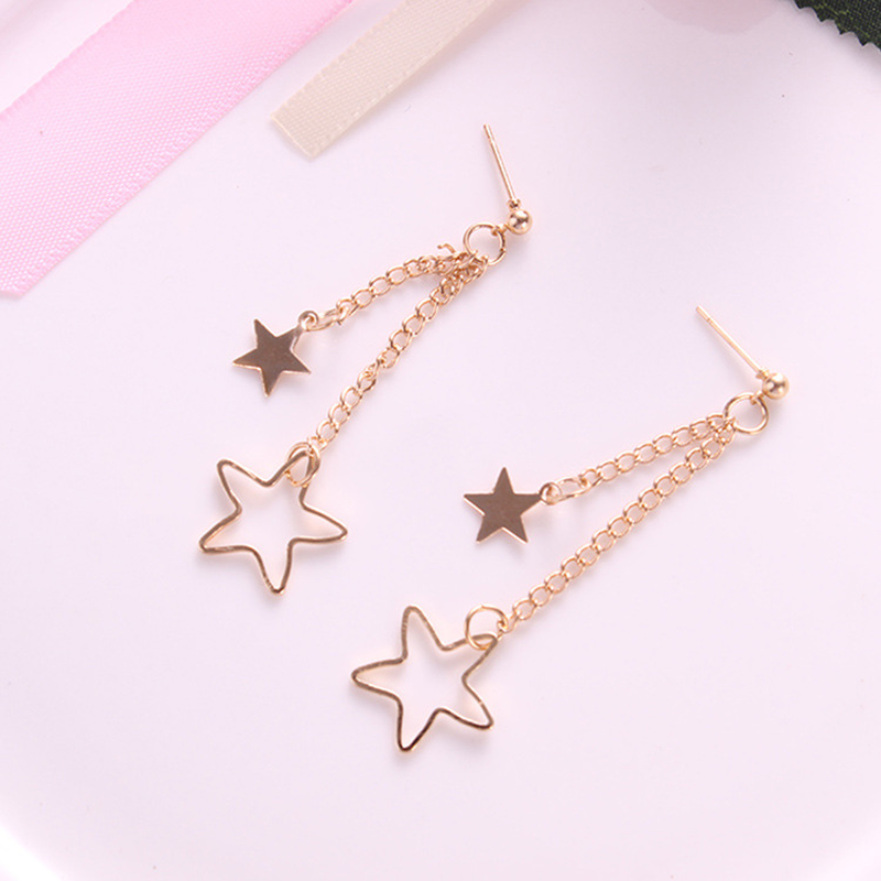 Mossovy Simple Star Tassel Earrings for Women Girls Accessories Charms Long Statement Earrings Fashion Jewelry Pendientes Brinco