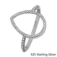 2017 New Silver Rings European Style Jewelry 925 Sterling Silver Radiant Teardrop Ring For Women Original