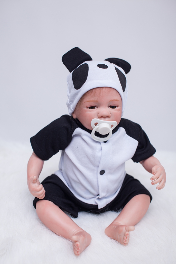48cm Lifelike Reborn Baby Doll Newborn Baby Fashion Doll Christmas Gift Baby Panda Doll Birthday Gift Brinquedos Kids Toys largest size 95cm panda plush toy cute expression panda doll birthday gift w9698