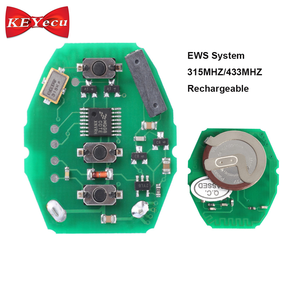 KEYECU Rechargeable EWS Remote PCB Circuit Board 3 Button 315MHz/433MHz for BMW 3 5 X seriesKEYECU Rechargeable EWS Remote PCB Circuit Board 3 Button 315MHz/433MHz for BMW 3 5 X series