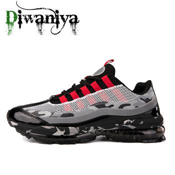 Marka mężczyźni buty do biegania odkryty lekkoatletyczny buty do chodzenia oddychający Jogging z poduszkami powietrznymi męskie siłownia trampki sportowe Plus rozmiar tanie i dobre opinie Diwaniya Air sole Lace-up Inne Podstawowym ( 5 km) Mesh (air mesh) Hard court Średnie (b m) Początkujący Dla dorosłych