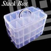 Big Stack Box Accessory Storage 3 layers adjustable slots removable dividers for DIY Nail Jewelry beads home Organizer container