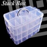 Pila grande Caja de Almacenamiento De Accesorios 3 capas ajustables divisores extraíbles ranuras para granos de La Joyería Del Clavo de DIY home Organizador contenedor