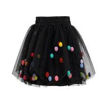 Colorido del baile faldas elástico cintura pompón Pettiskirt Tulle Mini  princesa falda de la muchacha niños 32f9dfafad22
