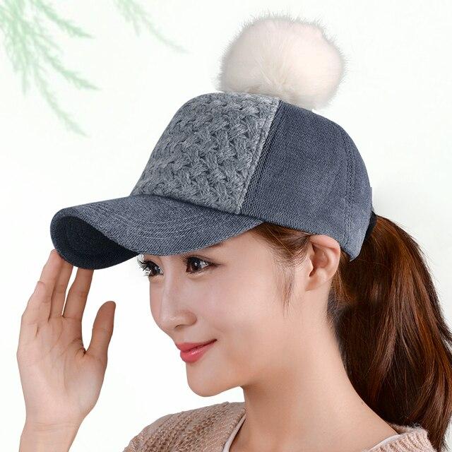 Baseball cap female autumn and winter outside sport all-match thermal fox fur ball baseball cap