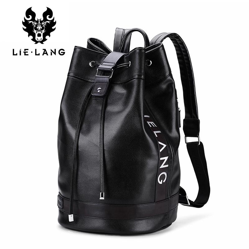 LIELANG 2017 Men Leather Backpack Mens Travel Backpacks Multifunction New Design Hasp Backpacks Waterproof Solid Black Rucksack