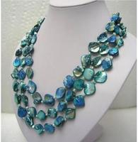 Beautiful 3rows white freshwater pearl blue mother shell necklace 18 20