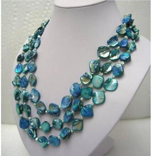 """Beautiful 3rows white freshwater pearl blue mother shell necklace 18--20"""""""