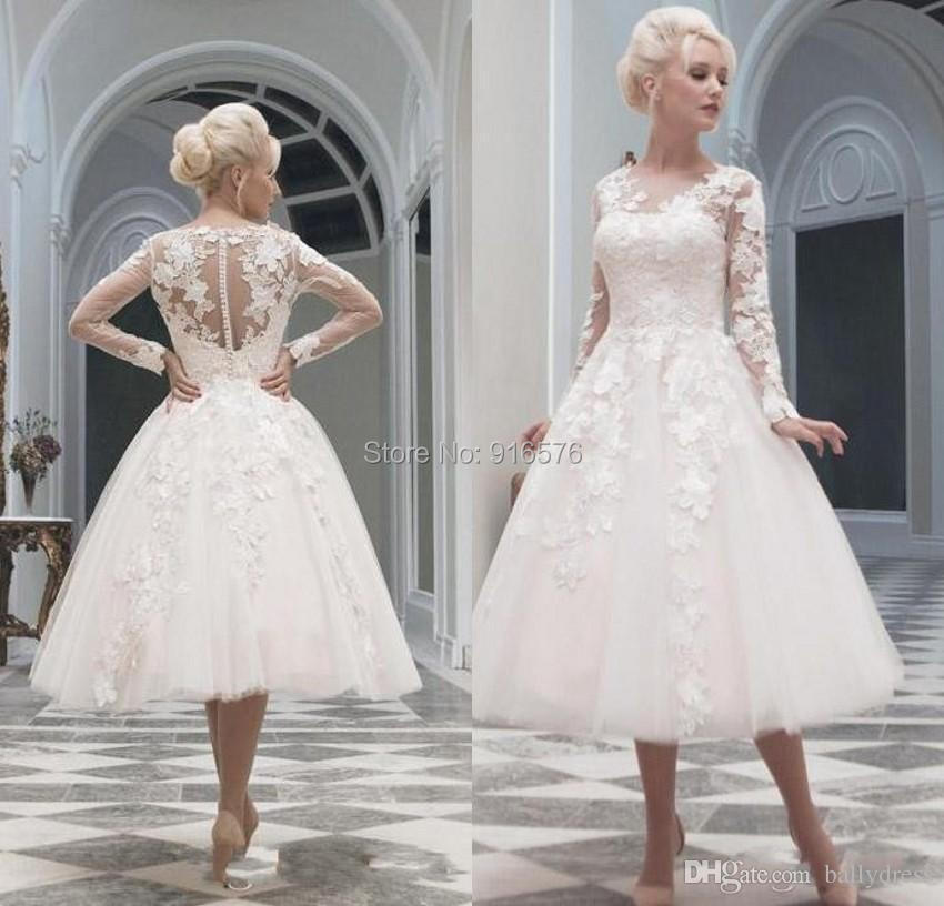 Vintage Illusion Long Sleeves Wedding Dresses Tea Length Sheer Boat  Neckline Tulle Ruffles Skirt Lace ...