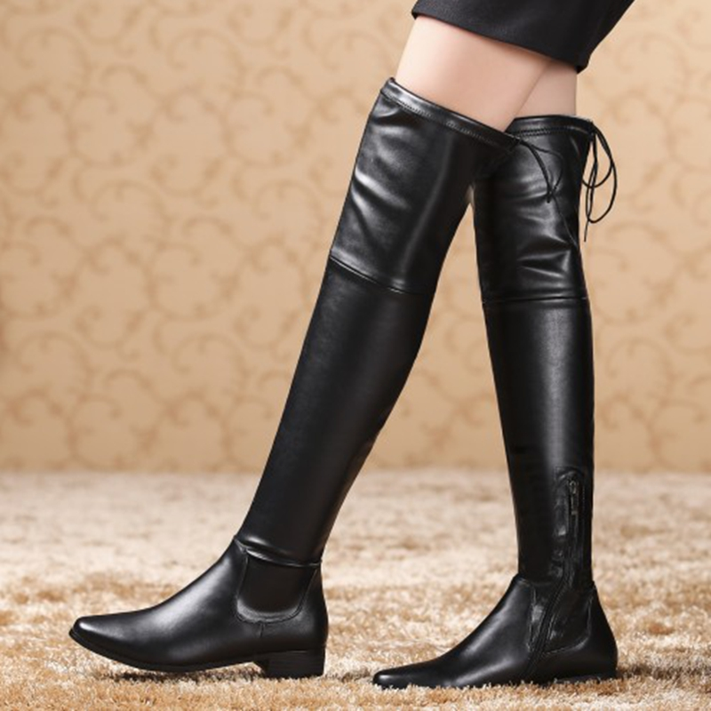 Aliexpress.com : Buy size 34 40 genuine leather boots women knee ...