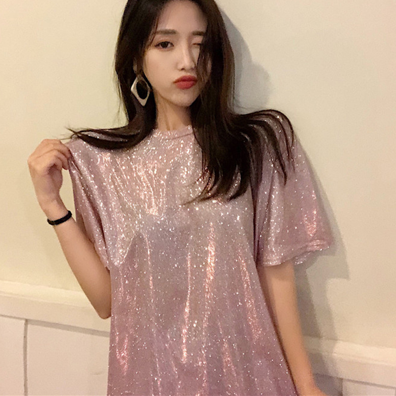 Korean style 2018 Summer Sequins Women t-shirts Short Sleeve Crew Long T-shirt Bright Silk femela Sequins Tee Camiseta De Mujer