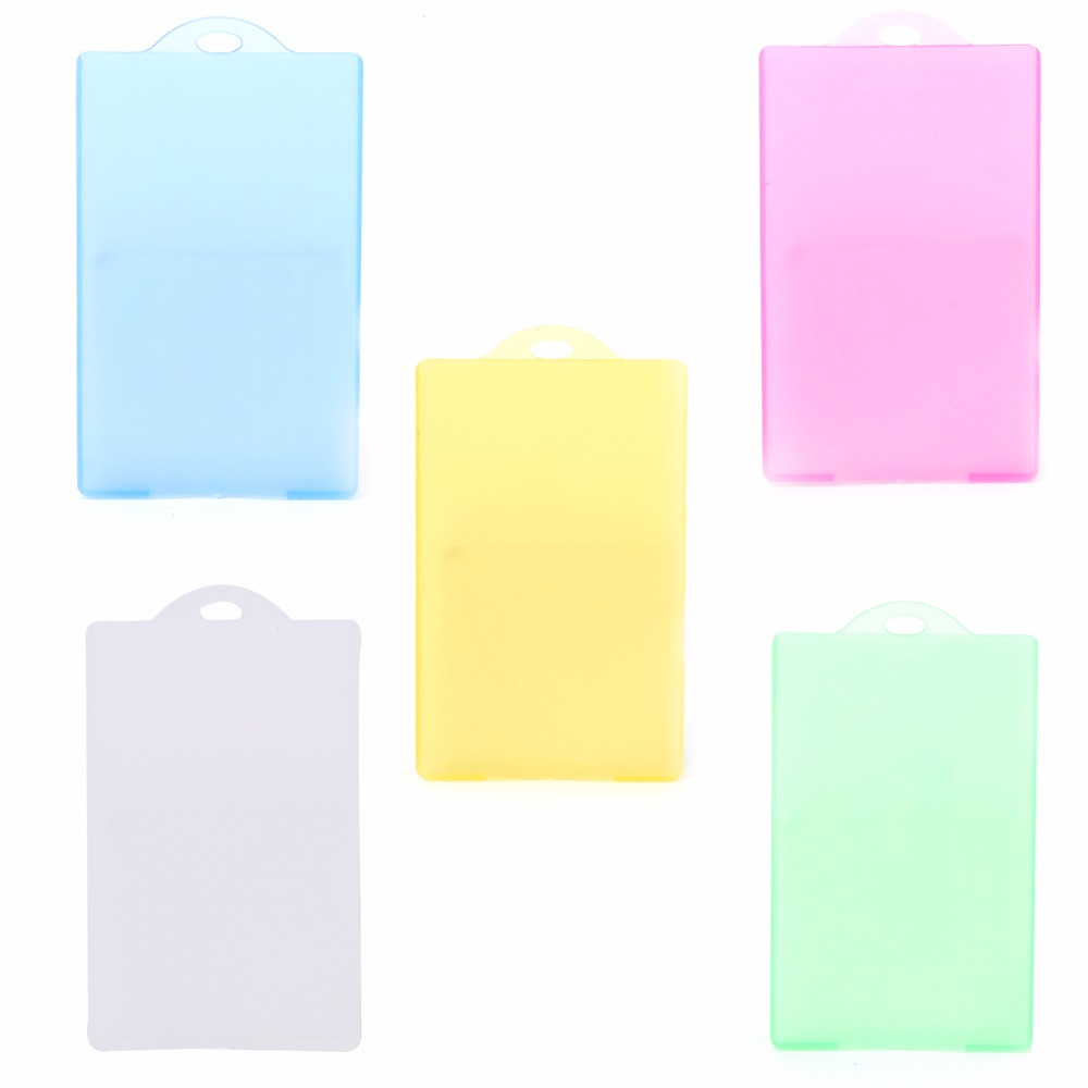 THINKTHENDO Plastic ID Badge Holder Accessories Card Bus Card Case Office Organizer Supplies