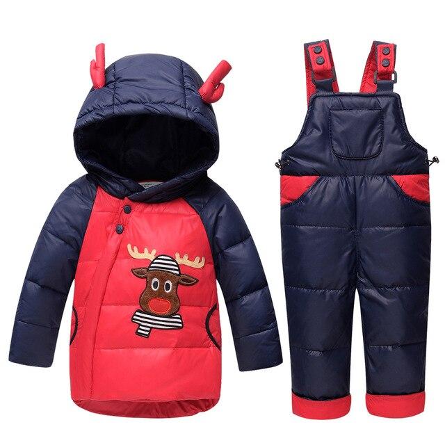 Bambino inverno caldo tute da sci spessi piumini + giù tuta 2 pezzi vestiti  set per e1dcc400274