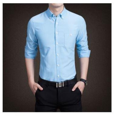 De Azul Fashion Marino Camisas Primavera Vestir Para Hombre Nueva HvIPqF
