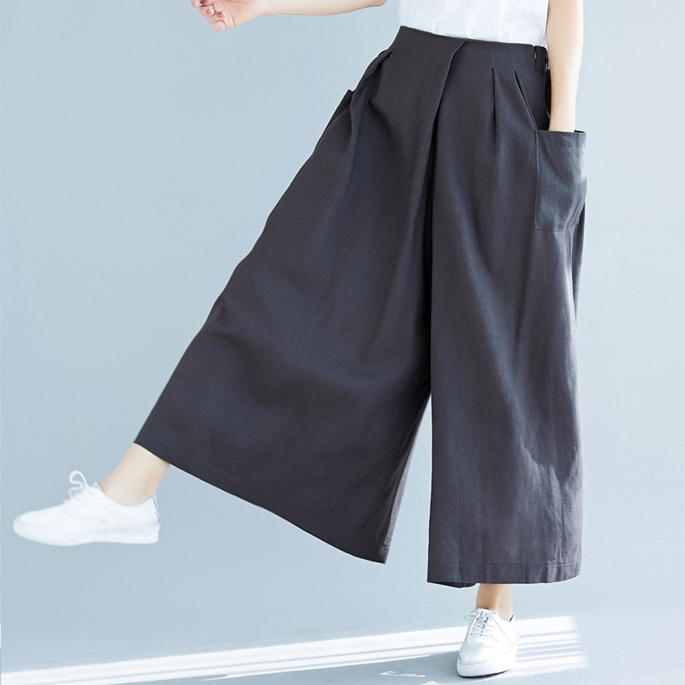 Wide     leg     pants   women's 2019 autumn cotton and linen elastic waist pockets irregular   pants     legs   loose large size culottes female