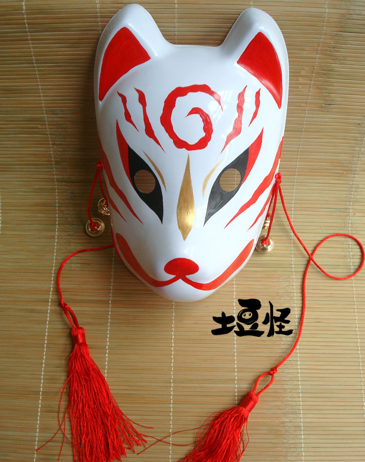 Free Shipping Japanese Fox Hand Printed Anime Cosplay Mask Halloween Party Mask
