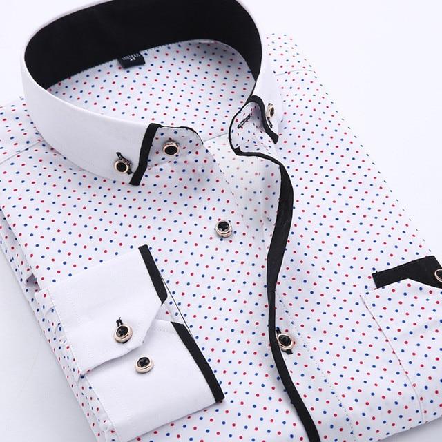 2018 Men Fashion Casual Long Sleeved Printed shirt Slim Fit Male Social Business Dress Shirt Brand Men Clothing Soft Comfortable 2
