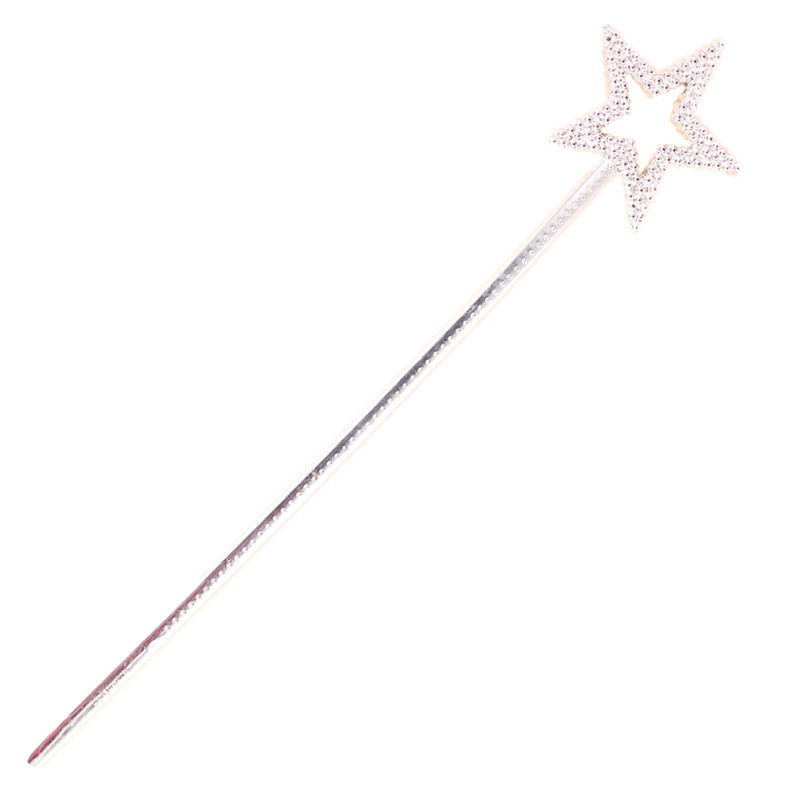 1Pcs Pentagram Star Fairy Stick Child Show Fairy Tale Bar Angel Rod Role Playing Game Magic Toys Girl Pretend Sticker Toy Silver image