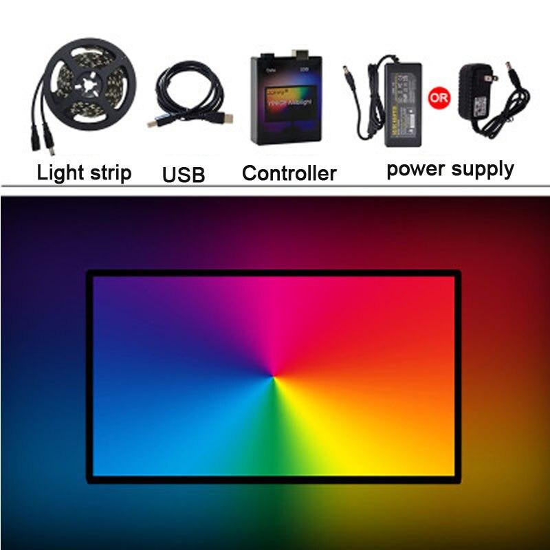 5 V WS2812 bande LED usb 5050 RGB remplaçable LED fond TV lumière Ambilight affichage Synchronization1M 2 M 3 M 4 M 5 M lumière LED