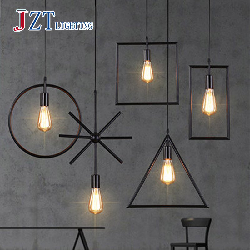 T 5piece LOFT American Industry Style Black Iron Pendant Light Simple Creative Lamps For Bar&Coffee Shop Home Lighting E27 Bulb 5piece 100