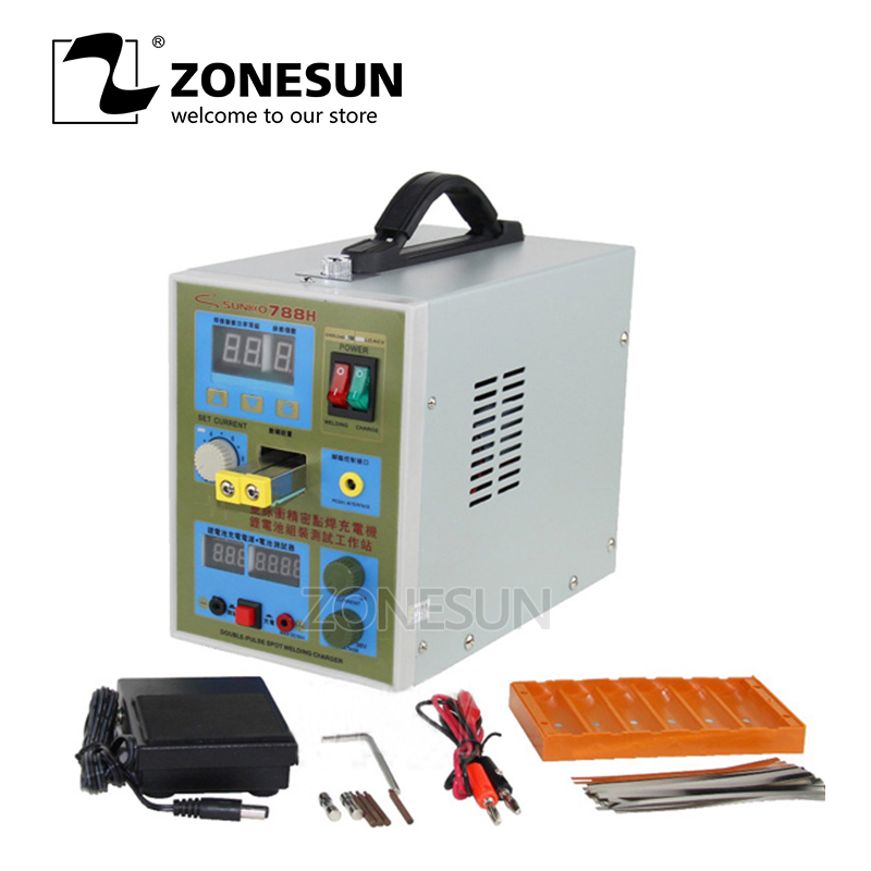 ZONESUN  LED Pulse 220V Battery Spot Welder 788H Welding Machine 18650 Battery Charger 800 A 0.1 - 0.2mm Battery Spot WelderZONESUN  LED Pulse 220V Battery Spot Welder 788H Welding Machine 18650 Battery Charger 800 A 0.1 - 0.2mm Battery Spot Welder