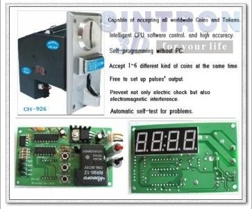 Multi Coin acceptor Selector mech CH-924 & time control timer board 2pcs multi coin selector coin acceptor specially designed the parameters extensive use for condom vending snack vending machine