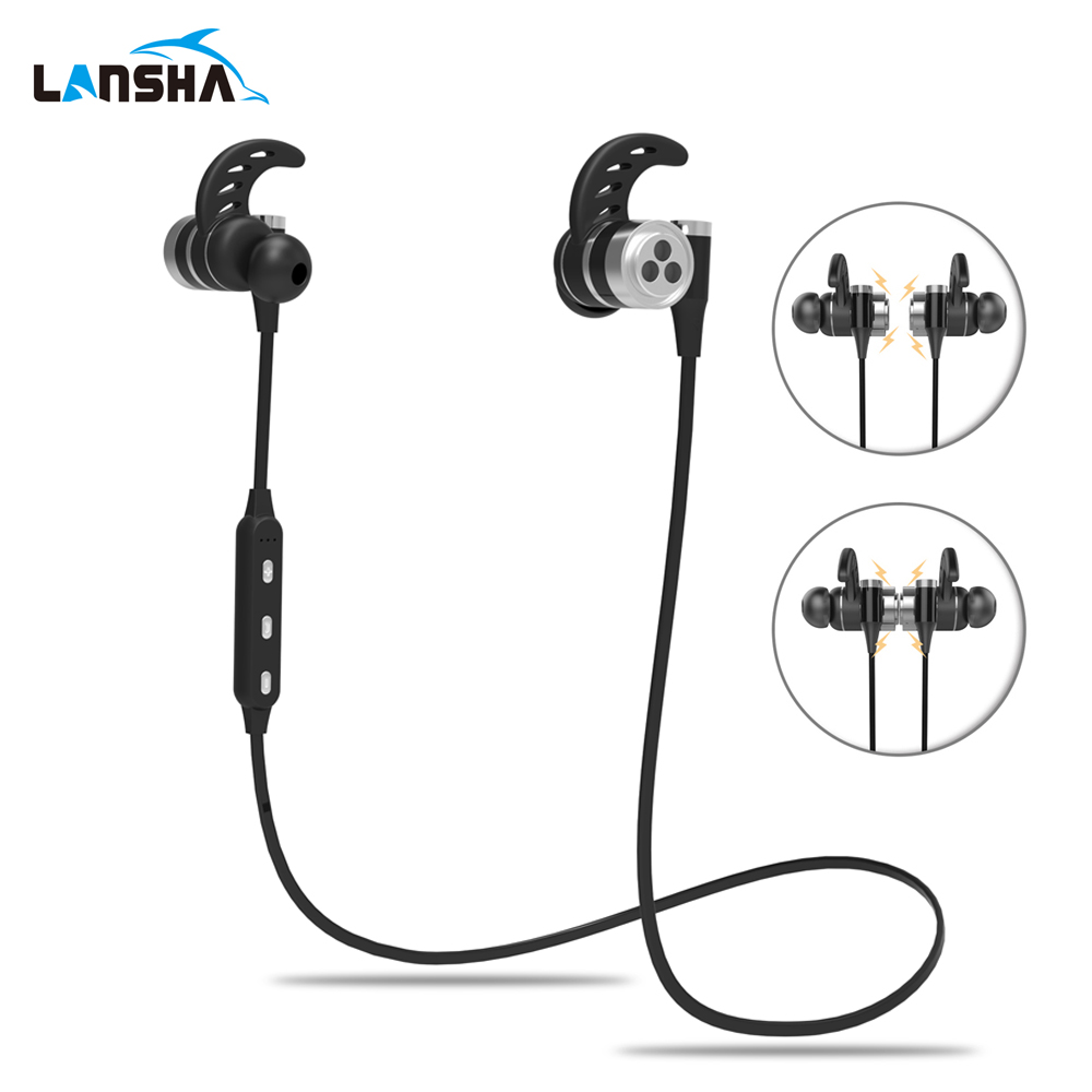 LANSHA Bluetooth Headset with Mic Magnetic Wireless