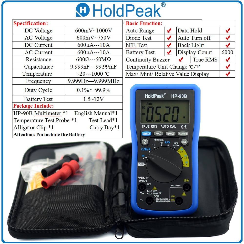 HoldPeak HP-90B True RMS Auto Range Multimerto Digital Multimeter Max/Min Value with Alligator Clip and Carry Bag hp 90b hp90b auto range digital multimeter digital avo meter