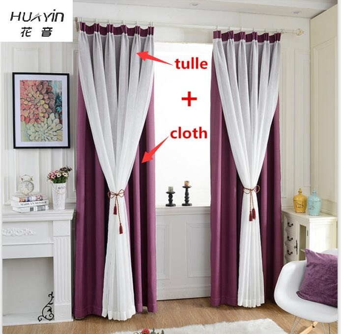 Huayin Velvet Linen Curtains Tulle Window Curtain For