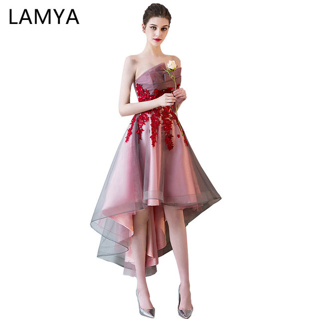 11d2366fd4 LAMYA Short Front Back Long Tail Prom Dresses Women Banquet High Low Evening  Party Dress 2018 Vintage Lace Scalloped Formal Gown