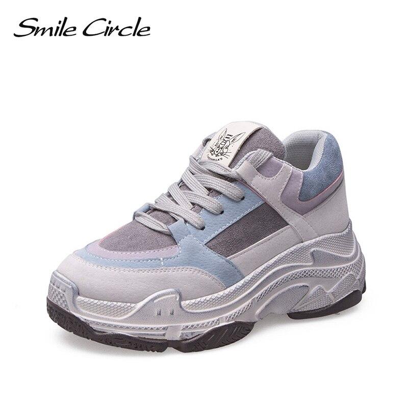 스마일 서클 2019 봄 새로운 여성 운동화 통기성 신발 플랫 아늑한 레이스 업 플랫폼 신발 소녀 두꺼운 바닥 숙녀 신발-에서여성 경량 신발부터 신발 의  그룹 1