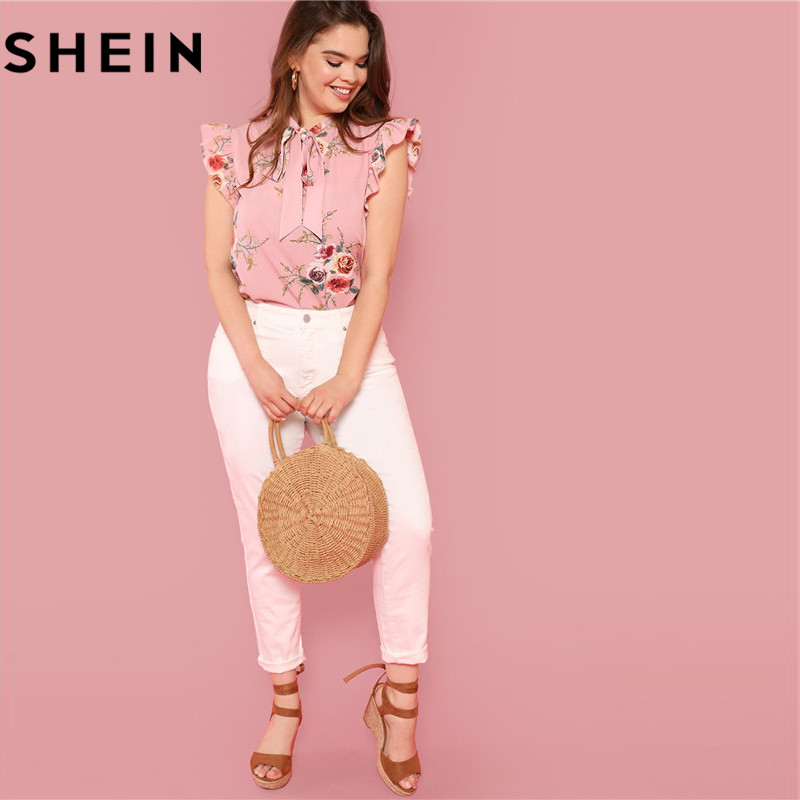 SHEIN Floral Print Pink Ruffle Sleeve Tie Neck Plus Size Elegant Women Blouses Summer Fashion Office Lady Sleeveless Top Blouse  4