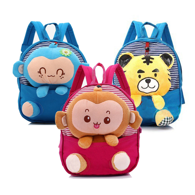 New Cute Kids School Bags Cartoon Monkey Tiger Dolls Soft Cotton Backpack Mini Baby Toddler Book