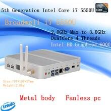 5th Gen. i7 5500U/5550U CPU Fanless HTPC Micro PC Small Size htpc Graphics HD6000 Computer.Win 10 3 Years Warranty Nuc pc