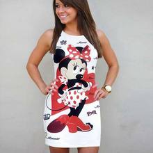 Festy Kary Fashion Women Summer Dress 2018 Cute Cartoon Printed Mini Vestidos O Neck Sleeveless Party Sheath Pencil Dress Women(China)