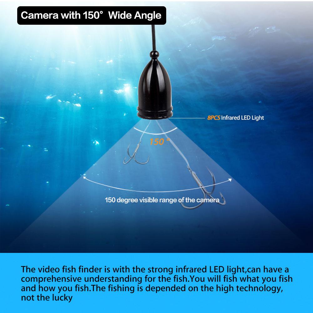 """Eyoyo Original Рыбоискатель 4.3""""20М Эхолот HD1000TVL Подводная камера для рыбалки с видеозаписю DVR и IR LED лампочеком Солнцезащитный козырек 150 Градусов"""