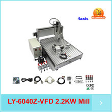mini metal cnc milling machine, 3d cnc router 6040 Z-S 4aixs 2.2KW,water cooled,with limit switch woodworking machine