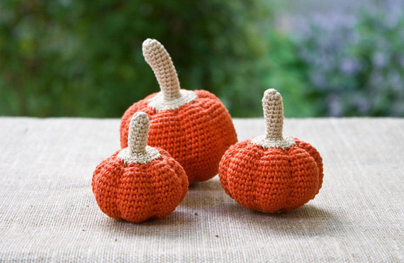 Halloween or Thanksgiving Harvest Pumpkin (1 pc) – crochet toy, kitchen decoration, pincushion, squash