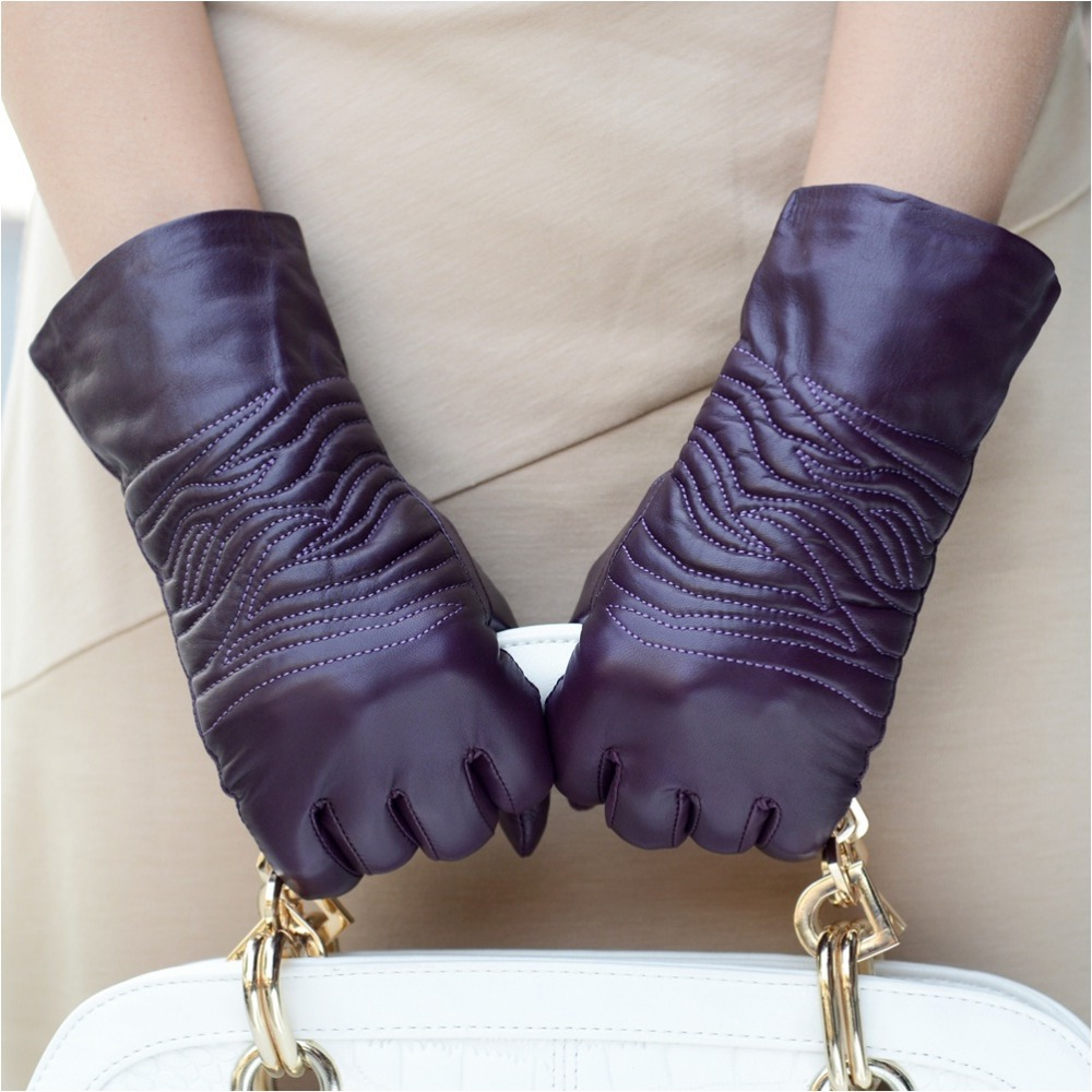 Womens leather gloves purple - Aliexpress Com Buy Women Leather Mittens Female Thermal Medium Long Sheepskin Genuine Leather Gloves Women Winter Leather Glove From Reliable Gloves