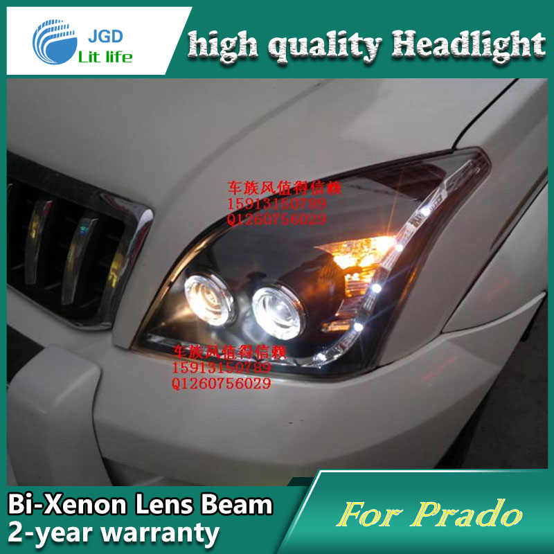 Car Styling Head Lamp case for Toyota Prado FJ120 Headlights LED Headlight DRL Lens Double Beam Bi-Xenon HID Accessories high quality car styling case for toyota prado 2003 2009 headlights led headlight drl lens double beam hid xenon car accessories