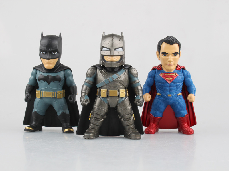 Free Shipping 3pcs DC Heros Batman vs Superman Dawn of Justice 3pcs Set Boxed PVC Action Figure Collection Model Toy free shipping 6 comics dc superhero shfiguarts batman injustice ver boxed 16cm pvc action figure collection model doll toy