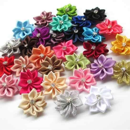 5 x Self Adhesive Satin Ribbon Flowers Bows Appliques Craft DIY Wedding Decor