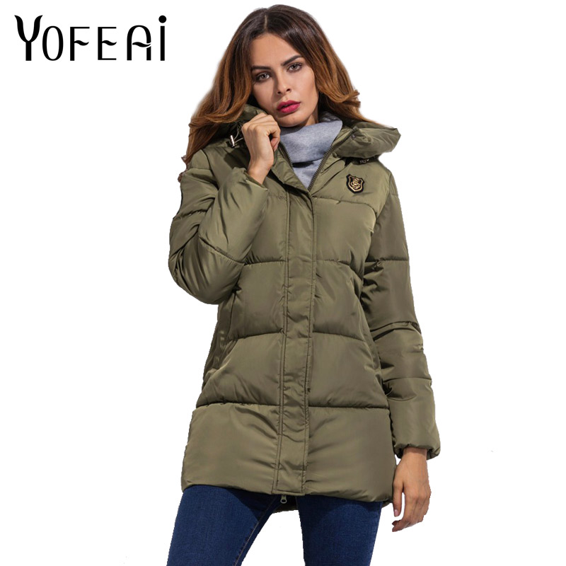 YOFEAI New Arrival Women Jackets Autumn Winter Basic Jackets Fashion Long Style Down Jacket Hooded Coat