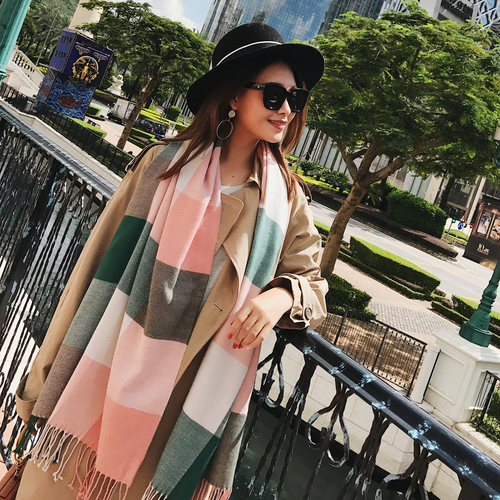 Autumn and winter new Korean version of warm blanket scarves fashion wild lady shawl