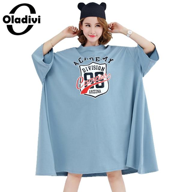 Oladivi Oversized Shirt Large Plus Size Women Dress Fashion Print Top Tee Big Size Cotton Dresses Female Tunic Vestidio 10XL 8XL