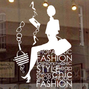 Wall Decor Stores Customize Lady Clothes Shop Store Glass Pattern Decals Sticker